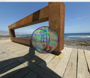 Two-sided soap bubble thin-film interference